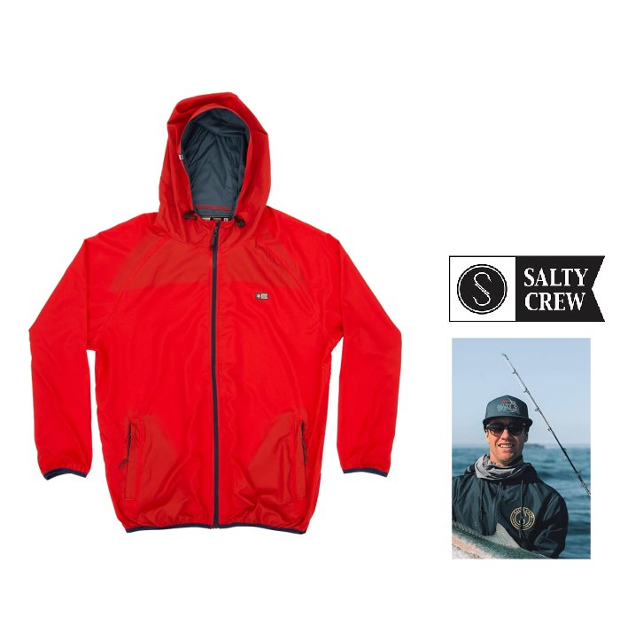SALTY CREW【ソルティークルー】『 Seawall Packable Jacket 』Hooded ZIP jacket プリントフーデット・撥水ポリエステル・ジャンパーLight weight wind breaker color【 RED 】レッド