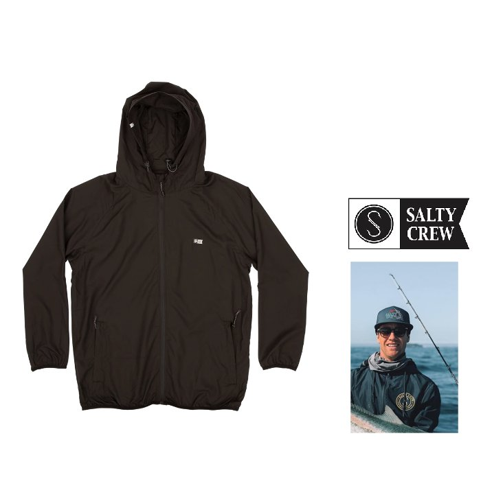 SALTY CREW【ソルティークルー】『 Seawall Packable Jacket 』Hooded ZIP jacket プリントフーデット・撥水ポリエステル・ジャンパーLight weight wind breaker color【 BLACK 】ブラック