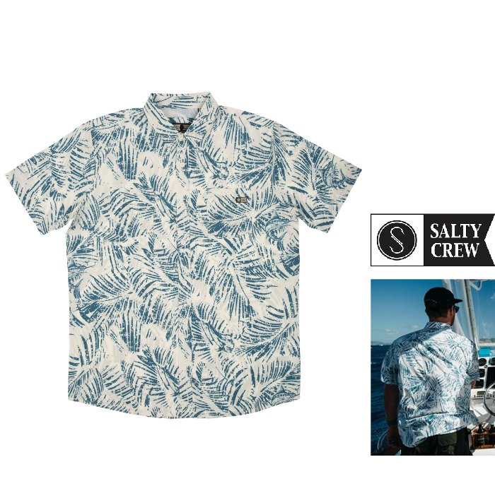 SALTY CREW【ソルティークルー】半袖プリント・アロハシャツ・ブラウス 『 Weathered Bone S/S UV Woven 』color【 BONE 】ブルー×ホワイト