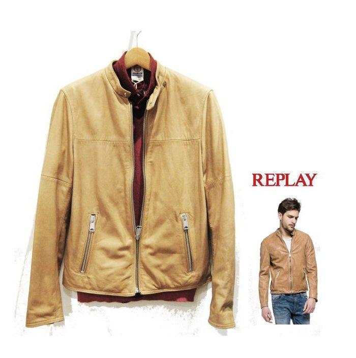 REPLAY 【 リプレイ 】MENS ラム・レザー ライダースジャケットバイカー・スタンド・羊革・ソフトレザーカフェレーサー・バイカーcolor : 【 CAMEL 】キャメル
