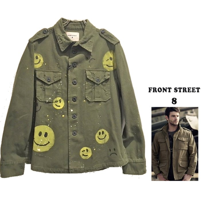 FRONT STREET 8【 フロントストリート 8 】送料無料 FRONT&BACK PAINT FIELD JACKETスマイル・ペイント・ダメージ・ミリタリージャケットCOLOR:【 GREEN 】カーキグリーン