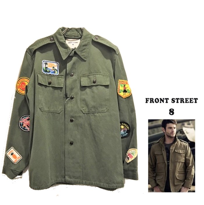 FRONT STREET 8【 フロントストリート 8 】送料無料 FRONT&BACK PAINT PATCH FIELD SHIRTS JACKETスマイル・パッチミリタリージャケット新作 コート アウター 防寒COLOR:【 GREEN 】カーキグリーン