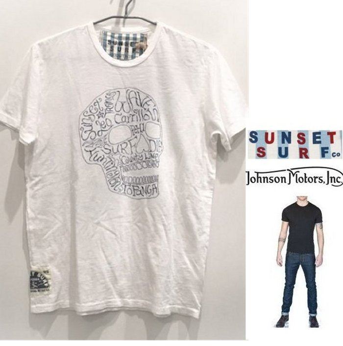 【 ジョンソン・モーターズ 】半袖 LOGO T-ShirtsSUNSET SURF・シリーズ『 SURF OR DIE 』サーフアートcolor【 WHITE 】ホワイト