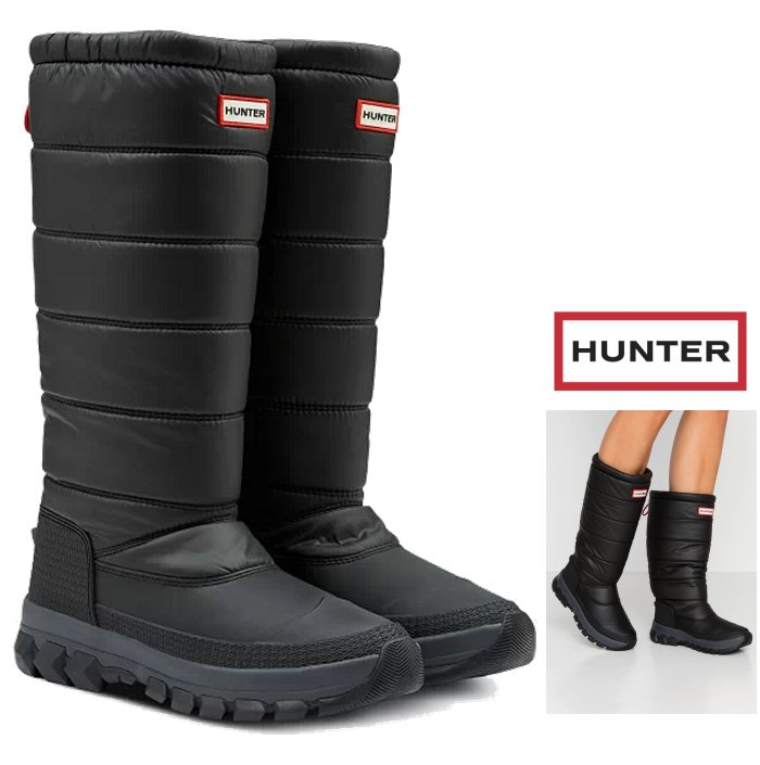 HUNTER レディース スノー キルティング ブーツ 25%OFF BOOTS 今だけ限定15%OFFクーポン発行中 ハンター レディースオリジナル インシュレーテッド トール WOMENS : BOOT SNOW INSULATED ORIGINAL スノーブーツ ロング丈 長靴color TALL ブラック BLACK