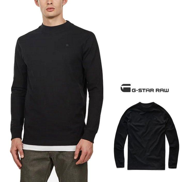 G-STAR RAW【 ジースターロウ 】Korpaz Mock T-Shirt L/S(d14448-b406)胸ワンポイント ハイネック長袖Tシャツcolor:【 Dark Black 】ブラックcolor:【 Sartho Blue 】ネイビーcolor:【 White 】ホワイト