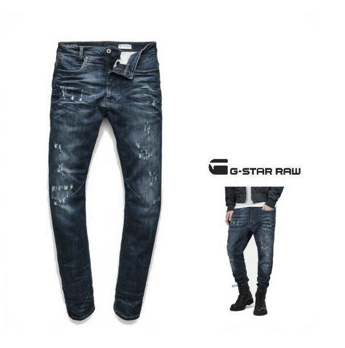 G-STAR RAW【 ジースターロウ 】【 D-Staq 3D Super Slim Jeans 】スーパースリム・テーパード・デニムcolor【 DK AGED ANTIC DESTROY 】アンティークブルー