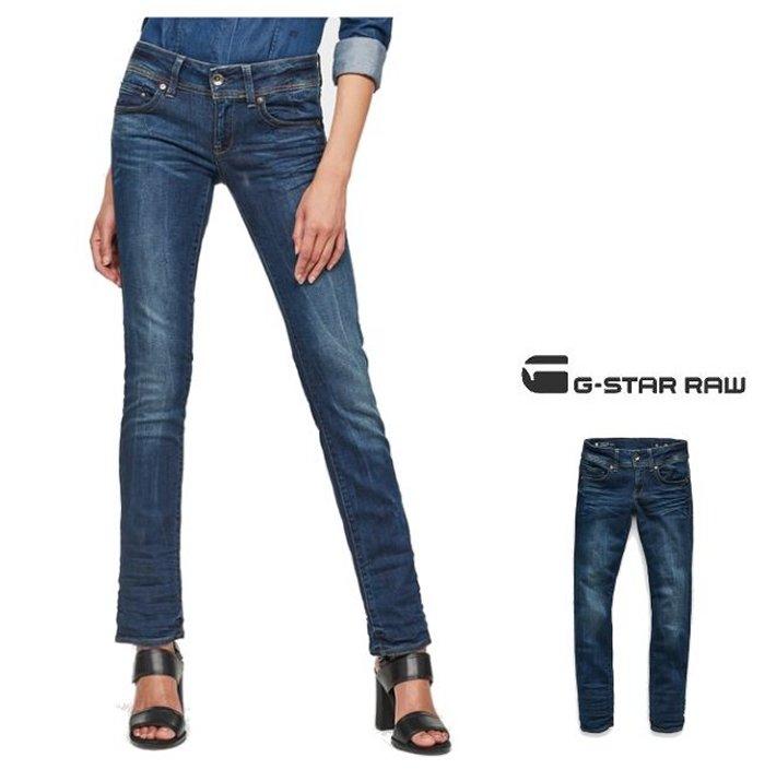 G-STAR RAW【 ジースターロウ 】Midge Saddle Mid Waist Straight Jeansストレッチ ストレートフィットデニムcolor:【DK AGED】ブルー