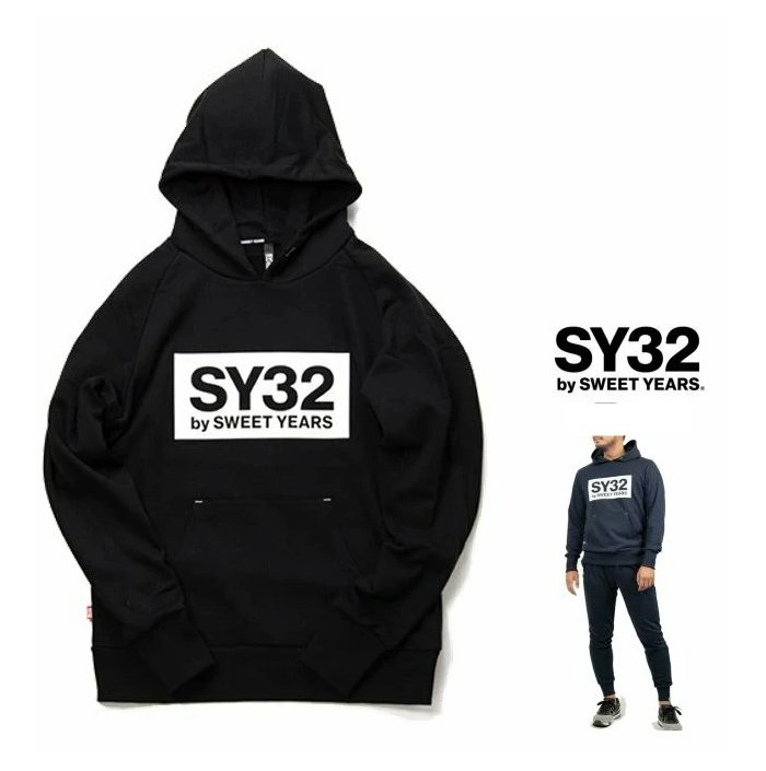 SY32 by SWEET YEARS【 スィートイヤーズ 】TNS1704 BOX LOGO P/O HOODIEフード BIGロゴ・プルオーバー・パーカーcolor:【 BLACK 】ブラック