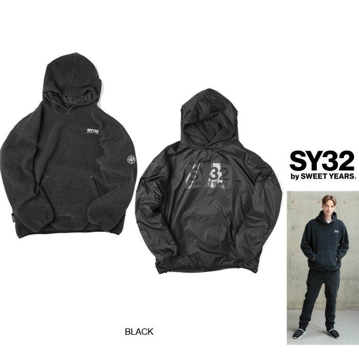 SY32 by SWEET YEARS【 スィートイヤーズ 】9111 POLARTEC REVERSIBLE HOODIEフード BOXロゴ・プルオーバーリバーシブル・フリース・パーカーcolor:【 BLACK 】ブラック