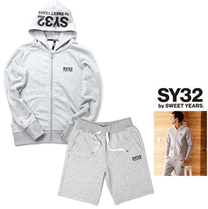 SY32 by SWEET YEARS【 スィートイヤーズ 】TNS1703・1719 GYREGULAR ZIP HOODIE&REGULAR SWEAT SHORT PANTSフード BIGロゴ・ZIPパーカー&ショートスェット・スーツcolor:【 GREY 】グレー