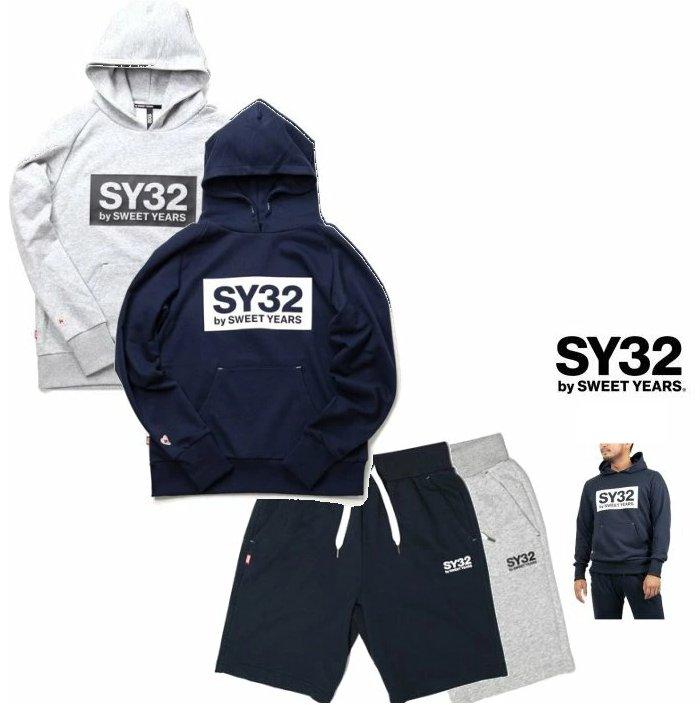 SY32 by SWEET YEARS【 スィートイヤーズ 】TNS1704・1719 NVREGULAR BOX HOODIE&REGULAR SWEAT SHORT PANTSフード BIGボックスロゴ&ショートスェット・スーツcolor:【 NAVY 】ネイビーcolor:【 GREY 】グレー