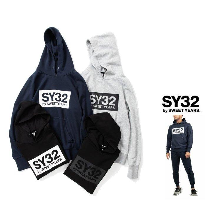 SY32 by SWEET YEARS 最新作 スエット入荷 スィートイヤーズ TNS1704-2 格安店 BOX LOGO O ネイビー GREY BIGロゴ HOODIEフード パーカーcolor: 爆買い新作 NAVY プルオーバー グレーcolor: P