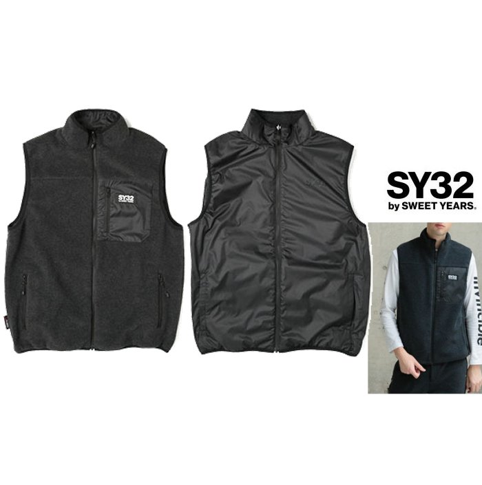 SY32 by SWEET YEARS【 スィートイヤーズ 】9109 POLARTEC REVERSIBLE VESTロゴ・プルオーバーリバーシブル・フリース・ベストcolor:【 BLACK 】ブラック