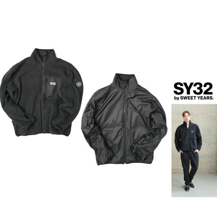 SY32 by SWEET YEARS【 スィートイヤーズ 】9110 POLARTEC REVERSIBLE ZIP JACKETロゴ・プルオーバーリバーシブル・フリース・ジップアップcolor:【 BLACK 】ブラック
