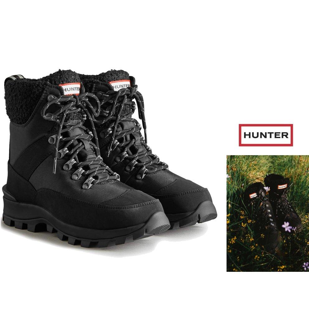 【HUNTER】レディース・スノー・キルティング・ブーツ HUNTER BOOTS【ハンター】レディース ショート スノー ブーツ【 HUNTER WS RECYCLED POLYESTER COMMANDO BOOT 】レースアップ・ミドル丈・スノー・ブーツ・長靴color : 【 BLACK 】ブラック