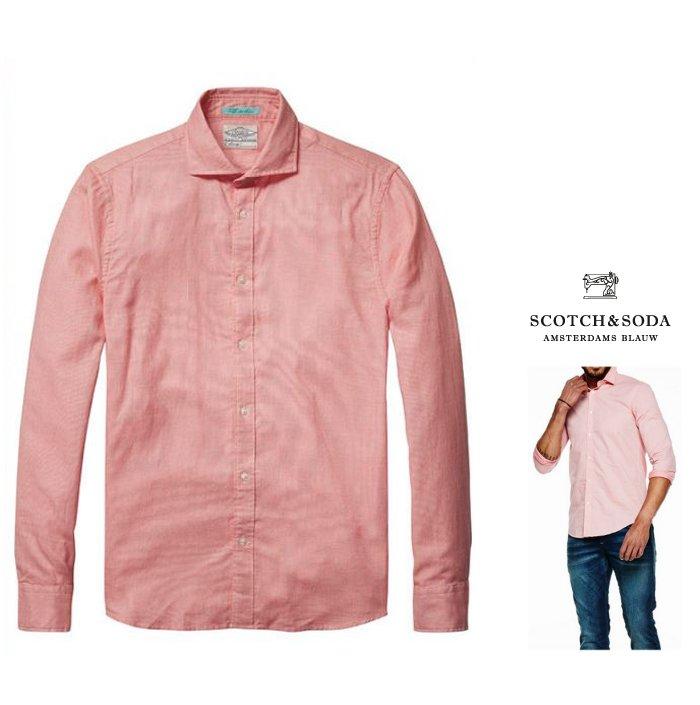 SCOTCH&SODA【 スコッチ&ソーダ 】L/S Shirt Jacquard Pat Shirtシャンブレー・長袖 コットンブラウス新作 綿シャツCOLOR:D05【 PINK 】ピンク
