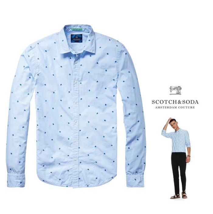 SCOTCH&SODA【 スコッチ&ソーダ 】Mini Embroidered Shirt羽柄・刺繍 コットン長袖ブラウス新作 綿シャツCOLOR:【 SAX BLUE 】ブルー