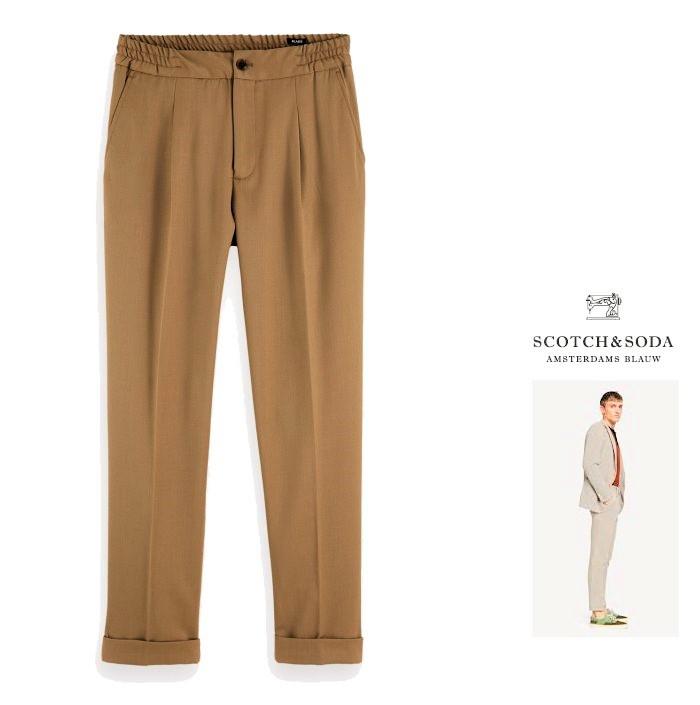 SCOTCH&SODA【 スコッチ&ソーダ 】【 Blake 】155061 Blake Wool Blend Trousersスリム カラーパンツcolor:【 Sandstorm 】ベージュ