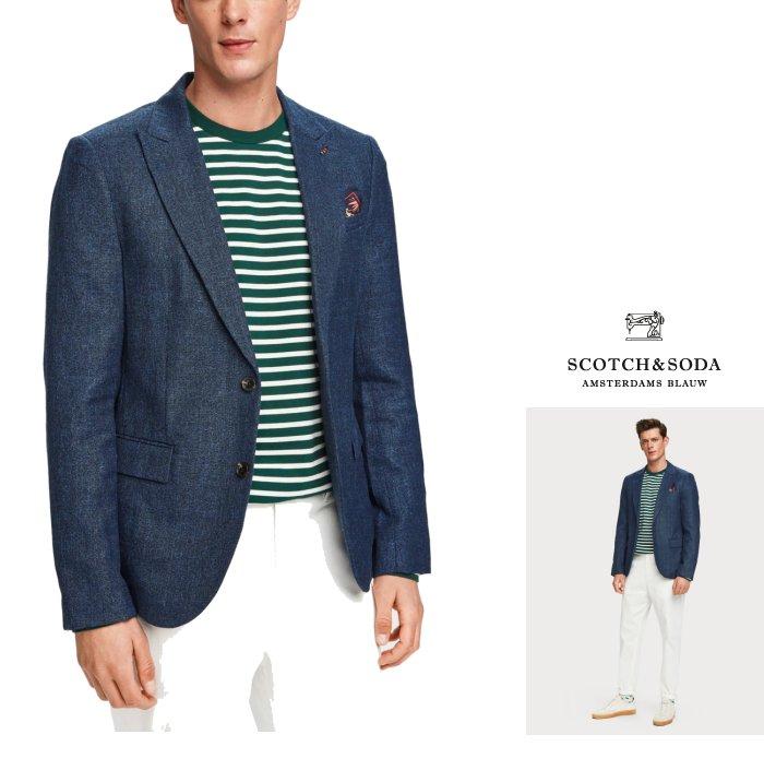 SCOTCH&SODA【 スコッチ&ソーダ 】Lightweight Wool Blend Blazerストレッチ テーラード ジャケットcolor:【 navy 】ネイビー