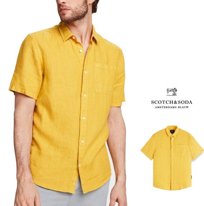 SCOTCH&SODA【 スコッチ&ソーダ 】155229 Short Sleeved Linen Shirt 無地カラー・リネンシャツ半袖シャツ・ブラウスCOLOR:【 Saffron 】イエロー