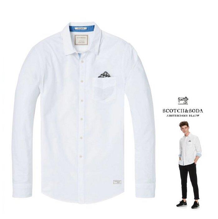 SCOTCH&SODA【 スコッチ&ソーダ 】Chest Pocket Shirt Regular fitコットン・オックスフォード・長袖ブラウス新作 綿シャツCOLOR:【White】ホワイト