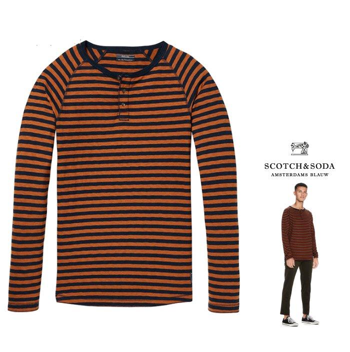 SCOTCH&SODA【 スコッチ&ソーダ 】Basic Grandad Tee Long Sleevヘンリーネック 長袖Tシャツcolor:【 BROWN×NAVY 】ブラウン×ネイビー ボーダー柄
