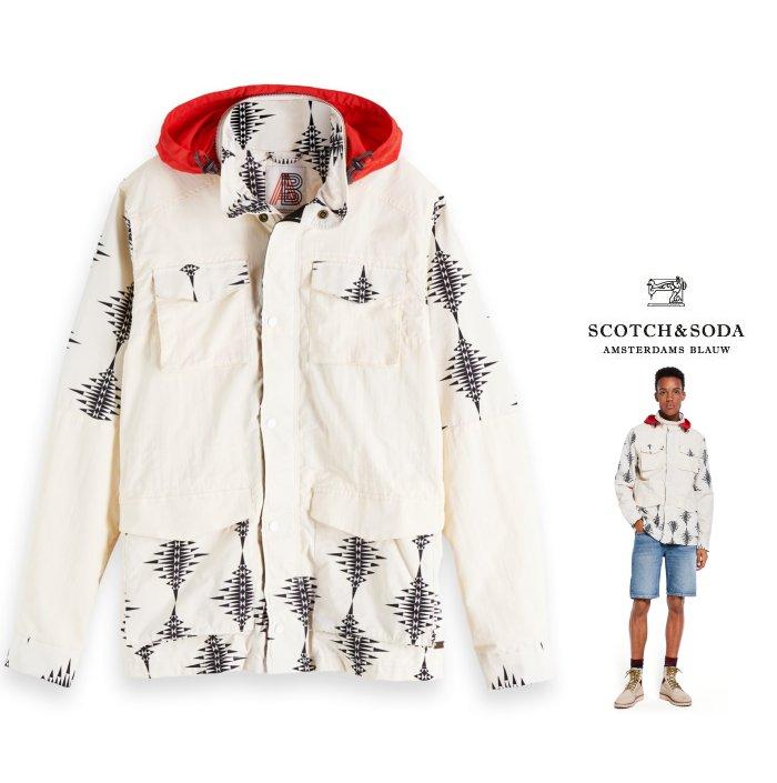SCOTCH&SODA 【 スコッチ&ソーダ 】【 Nylon Field Jacket 】プリント・ジップ・スタンドスプリング・ナイロン・ジャケットcolor:【 WHITE 】ホワイト