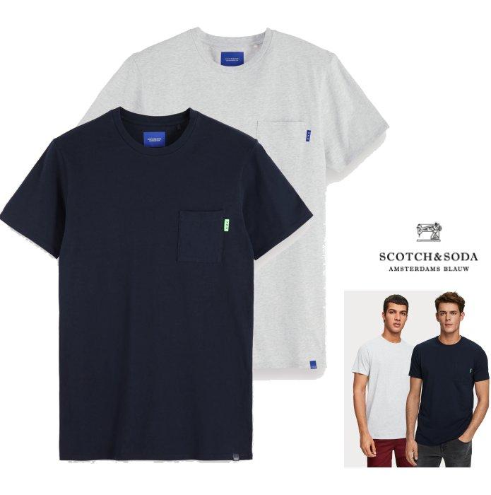 SCOTCH&SODA【 スコッチ&ソーダ 】153621 Basic Chest Pocket T-Shirt ポケット・ Tシャツ・2点セットcolor:【 NAVY 】ネイビーcolor:【 Grey Melange 】グレーメランジ