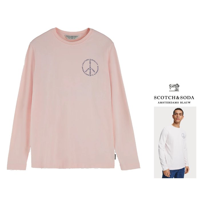 SCOTCH&SODA【 スコッチ&ソーダ 】155326 Logo Detail T-Shirtアートロゴ 長袖Tシャツcolor:【 Faded Pink 】ピンク