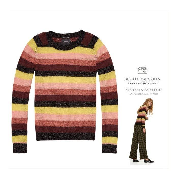 ■■■PRICE DOWN■■■レディースMAISON SCOTCH【 スコッチ&ソーダ★メゾン スコッチ 】Knitted Stripe Pulloverモヘア P/O ニット セーターCOLOR:【 BROWN×YELLOW×BLACK 】ブラウン×イエロー×ブラック