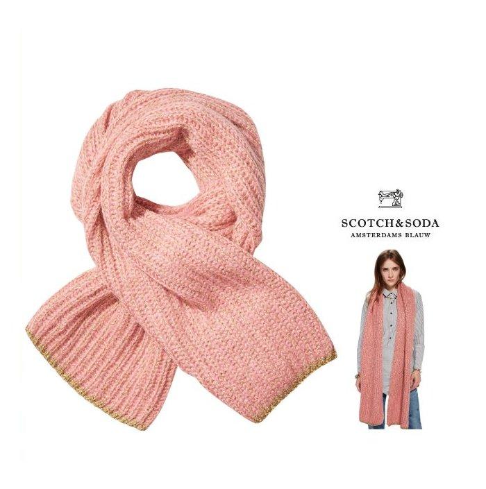 【 スコッチ&ソーダ 】MAISON SCOTCH 【メイソンスコッチ・メゾンスコッチ】Soft Knit Lurex Scarfモヘヤ ニットマフラーcolor:【 Moss 】グリーンcolor:【 Petal 】ピンク
