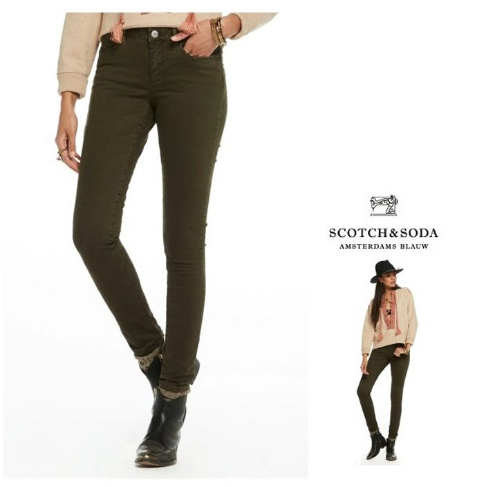 MAISON SCOTCH【 スコッチ&ソーダ★メゾンスコッチ 】La Bohemienne Sateen Pants Mid-rise skinny fitスキニー カラーパンツCOLOR:【 Army 】アーミー