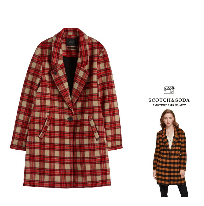 SCOTCH&SODA 【スコッチ&ソーダ・メゾンスコッチ】152684 Checked Wool Coatテーラード チェック柄 チェスターコートColor:【 RED CHECK 】レッド・チェック