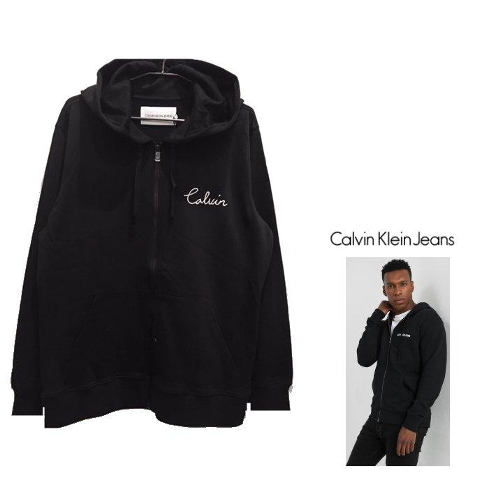 Calvin Klein JEANS【 カルバンクライン・ジーンズ 】CALLIGRAPHIC LOGO SWEAT HOODIEフロント&バックロゴ・ZIP・フーディー・パーカーcolor:【 BLACK 】ブラック