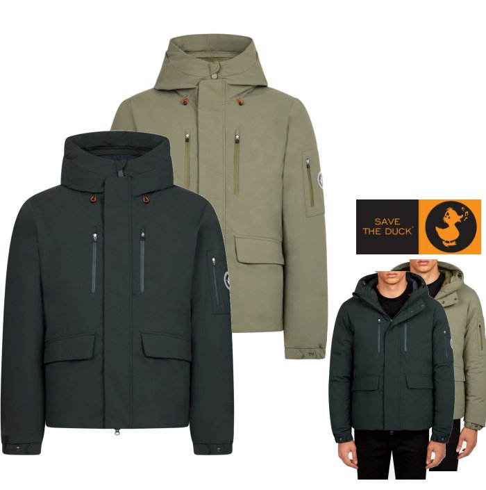 SAVE THE DUCK【 セイブザダック 】 SMEG WINTER HOODED PARKA IN8582438【P3060M】MENS ナイロン・キルティング ジャケットColor:1178【 Green Black 】グリーンColor:841【 Dusty Olive 】オリーブ