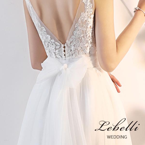 ウエディングドレス 背中が大人可愛い V キャミドレス エンパイアドレス エレガント 結婚式 2次会 花嫁 ドレス 前撮り 後撮