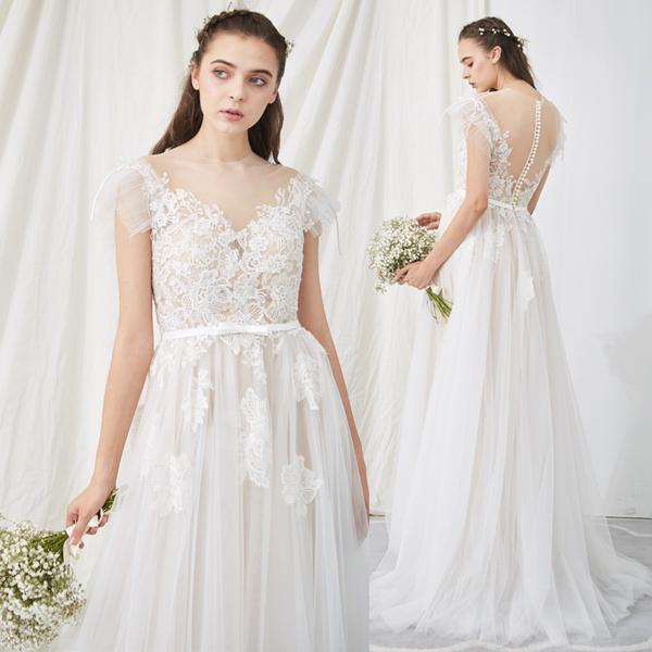 【10%OFFクーポンあり】ウエディングドレス スレンダー シースルー フィッシュテール 結婚式 2次会 花嫁 エンパイアドレス 大人 S M L white 白