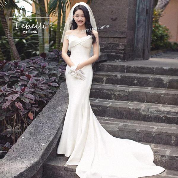ウェディングドレス  マーメードドレス 撮影 挙式 結婚式 花嫁 ドレス 2次会  S M L ビーチ ハネムーン