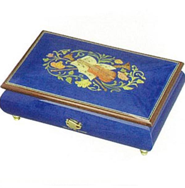 【お名入れ無料】30弁高級イタリア象嵌宝石箱 ブルー(楽器のデザイン)おとり寄せ商品 【プレゼントオルゴール】