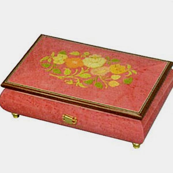 【お名入れサービス】30弁高級イタリア象嵌宝石箱 濃いピンク(花のデザイン)オルゴール お取り寄せ【クリスマスプレゼント】