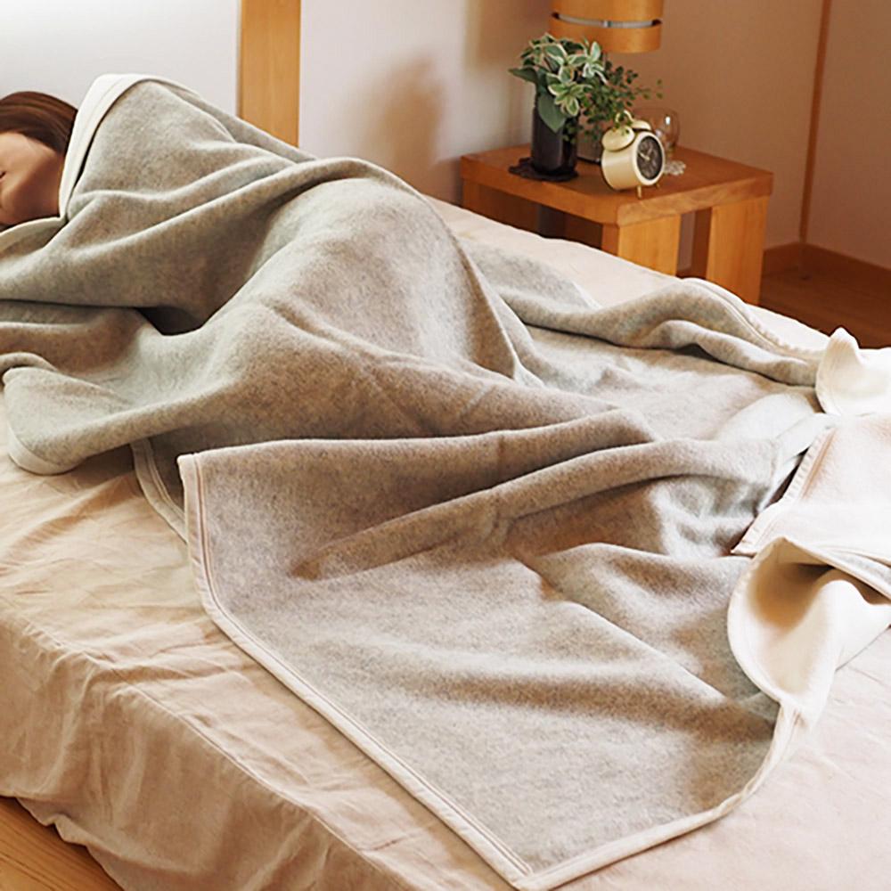 大津毛織 ウール/コットン リバーシブルブランケット 毛布 シングル 日本製 送料無料