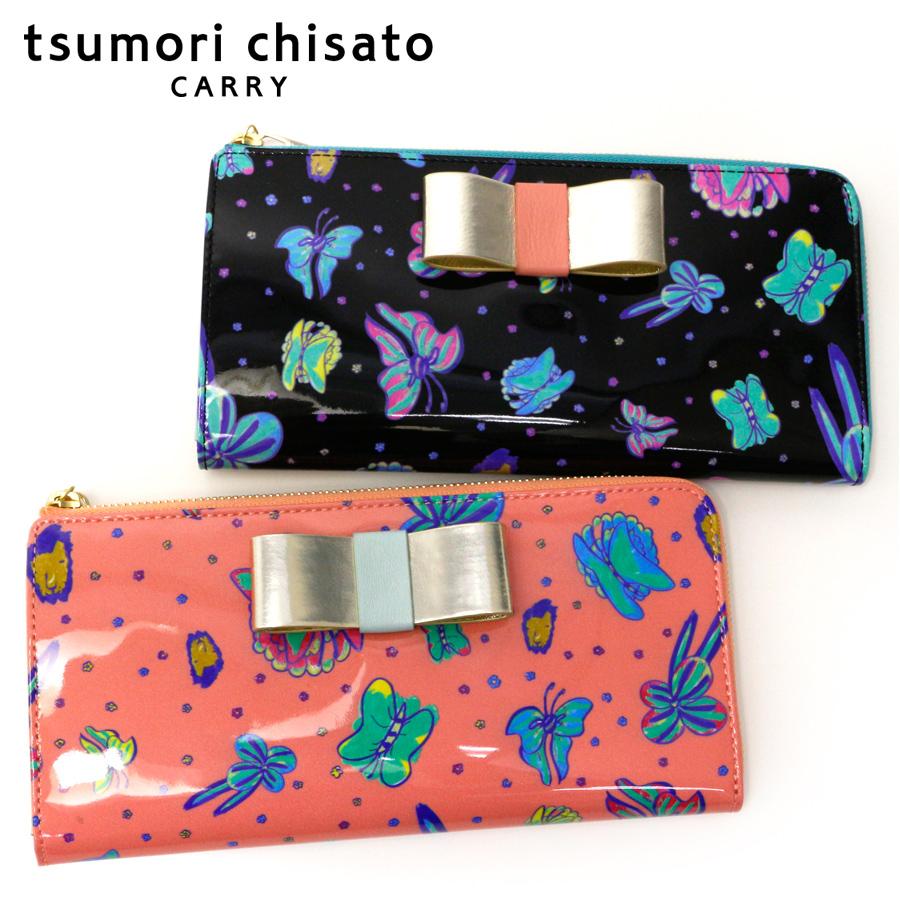 【セール対象商品】ツモリチサト tsumori chisato リボンエナメル ラウンドファスナー長財布 57298 猫 ドット 羊革 日本製 ねこ 女性 彼女 ギフト