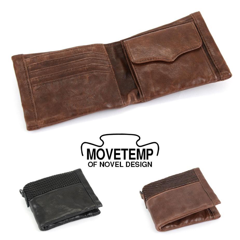 【送料無料】二つ折り財布 メンズ 本革 馬革 パンチングレザー MOVETEMP ムーブテンプ Mustang マスタング【父の日 プレゼント 実用的 父の日ギフト】