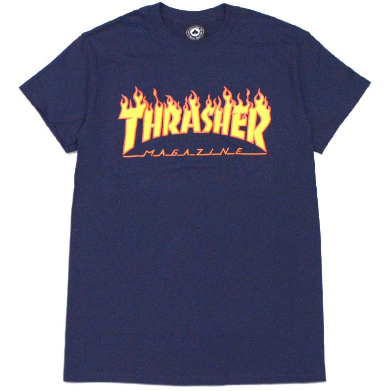 7d54ac992a9f Slasher THRASHER FLAME LOGO. TEE (navy NAVY YELLOW) slasher T-shirt  THRASHERT shirt slasher short sleeves THRASHER short sleeves slasher frame  logo THRASHER ...