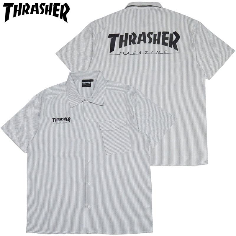 3dcbcf17c3 Slasher THRASHER HOMETOWN S/S WORK SHIRT (black black BLACK STRIPE) slasher  shirt ...
