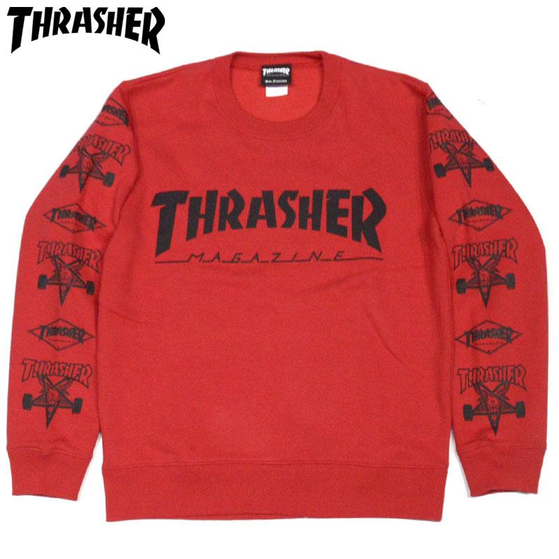 スラッシャー THRASHER MULTI-E CREW SWEAT(レッド 赤 RED)スラッシャースウェット THRASHERスウェット スラッシャートレーナー THRASHERトレーナー スラッシャークルーネック THRASHERクルーネック