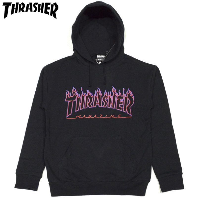 スラッシャー THRASHER FLAME OUTLINE US COTTON HOODIE SWEAT(ブラック 黒 BLACK/PURPLE)スラッシャーパーカ THRASHERパーカ スラッシャープルオーバー THRASHERプルオーバー マグロゴ MAGLOGO