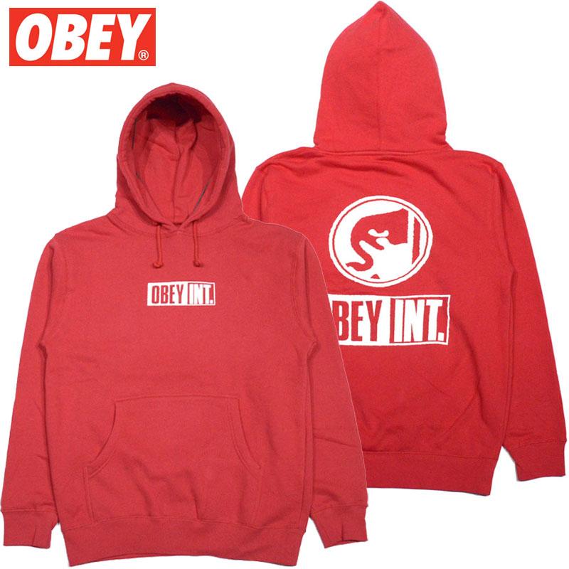 オベイ OBEY OBEY INT. ICON BASIC PULLOVER HOOD FLEECE(レッド 赤 RED)オベイパーカ OBEYパーカ オベイプルオーバー OBEYプルオーバー オベイ長袖 OBEY長袖