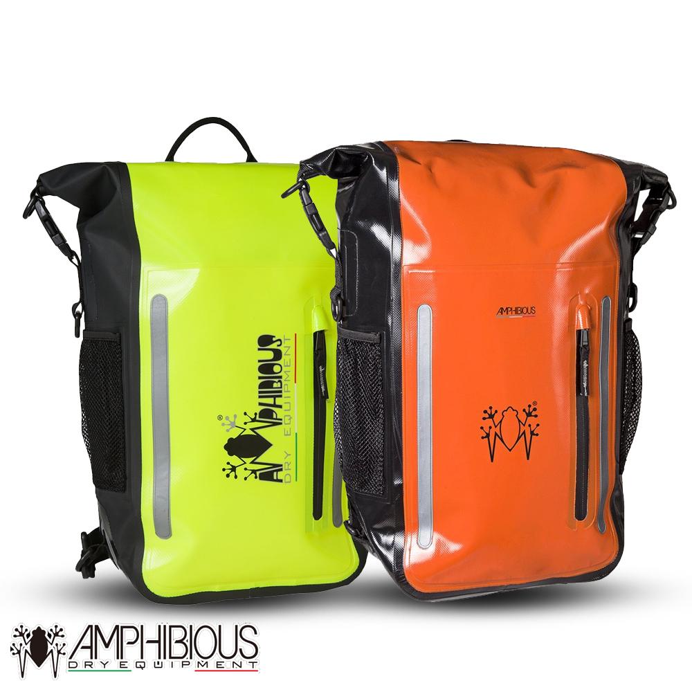 AMPHIBIOUS(アンフィビウス)防水バッグ ATOM 15L ORANGEオレンジ・FLUOイエロー リュック バックパック バイク用 撥水 ロードバイク 普段使い 1泊2日サイズ ヤマハ YAMAHA Y's GEAR