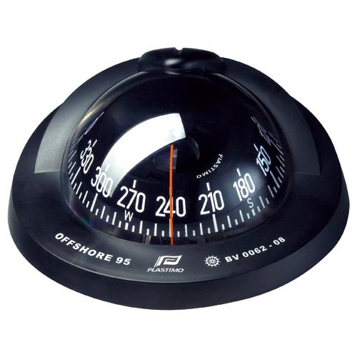 オフショア95 コンパス フラッシュマウント 12V/24V 対応 船舶用品 ボート用品 19~40フィート 自差修正器 LED 方位磁石 ブラック ホワイト コニカルカード